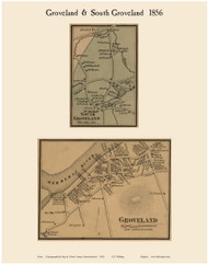 Groveland and South Groveland Villages, Massachusetts 1856 Old Town Map Custom Print - Essex Co.