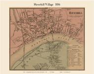 Haverhill Village, Massachusetts 1856 Old Town Map Custom Print - Essex Co.