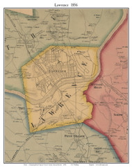 Lawrence, Massachusetts 1856 Old Town Map Custom Print - Essex Co.