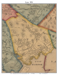 Lynn, Massachusetts 1856 Old Town Map Custom Print - Essex Co.