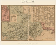 Lynn, Swampscott and East Saugus Villages, Massachusetts 1856 Old Town Map Custom Print - Essex Co.