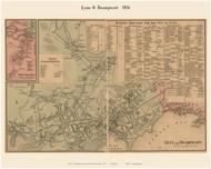 Lynn, Swampscott and East Saugus Villages, Massachusetts 1856 Old Town Map Custom Print - Essex Co.