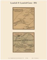 Lynnfield and Lynnfield Center Villages, Massachusetts 1856 Old Town Map Custom Print - Essex Co.