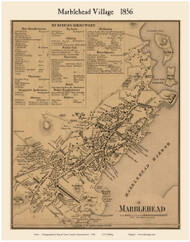 Marblehead Village, Massachusetts 1856 Old Town Map Custom Print - Essex Co.