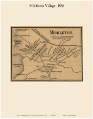 Middleton Village, Massachusetts 1856 Old Town Map Custom Print - Essex Co.