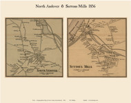 North Andover and Suttons Mills Villages, Massachusetts 1856 Old Town Map Custom Print - Essex Co.