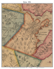 Salem, Massachusetts 1856 Old Town Map Custom Print - Essex Co.