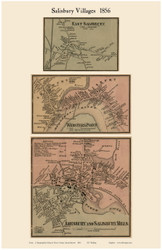 East Salisbury, Webster's Point and Amesbury & Salisbury Mills Villages, Massachusetts 1856 Old Town Map Custom Print - Essex Co.