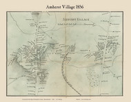 Amherst Village, Massachusetts 1856 Old Town Map Custom Print - Hampshire Co.
