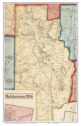 Belchertown, Massachusetts 1856 Old Town Map Custom Print - Hampshire Co.