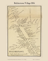 Belchertown Village, Massachusetts 1856 Old Town Map Custom Print - Hampshire Co.