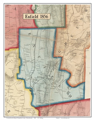Enfield, Massachusetts 1856 Old Town Map Custom Print - Hampshire Co.