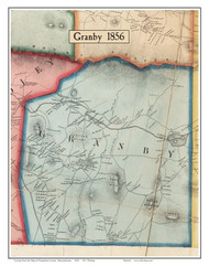 Granby, Massachusetts 1856 Old Town Map Custom Print - Hampshire Co.