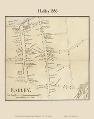 Hadley Village, Massachusetts 1856 Old Town Map Custom Print - Hampshire Co.