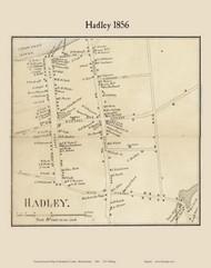 Hadley Village, Massachusetts 1856 Old Town Map Custom Print - Hampshire Co.