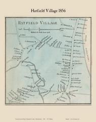 Hatfield Village, Massachusetts 1856 Old Town Map Custom Print - Hampshire Co.