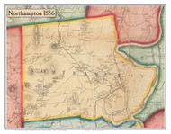 Northampton, Massachusetts 1856 Old Town Map Custom Print - Hampshire Co.
