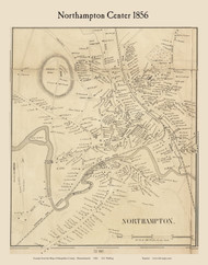 Northampton Center, Massachusetts 1856 Old Town Map Custom Print - Hampshire Co.