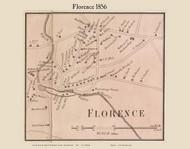 Florence Village, Massachusetts 1856 Old Town Map Custom Print - Hampshire Co.