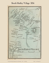 South Hadley Village, Massachusetts 1856 Old Town Map Custom Print - Hampshire Co.