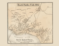 South Hadley Falls Village, Massachusetts 1856 Old Town Map Custom Print - Hampshire Co.