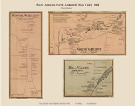 South Amherst, North Amherst and Mill Valley Villages, Massachusetts 1860 Old Town Map Custom Print - Hampshire Co.