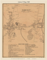 Amherst Village, Massachusetts 1860 Old Town Map Custom Print - Hampshire Co.