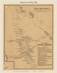 Belchertown Village, Massachusetts 1860 Old Town Map Custom Print - Hampshire Co.