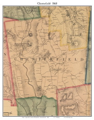Chesterfield, Massachusetts 1860 Old Town Map Custom Print - Hampshire Co.