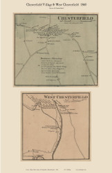 Chesterfield and West Chesterfield Villages, Massachusetts 1860 Old Town Map Custom Print - Hampshire Co.