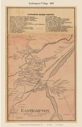 Easthampton Village, Massachusetts 1860 Old Town Map Custom Print - Hampshire Co.