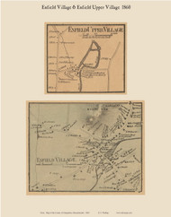 Enfield and Enfield Upper Villages, Massachusetts 1860 Old Town Map Custom Print - Hampshire Co.