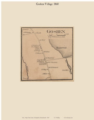 Goshen Village, Massachusetts 1860 Old Town Map Custom Print - Hampshire Co.