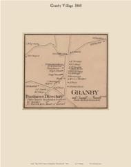 Granby village, Massachusetts 1860 Old Town Map Custom Print - Hampshire Co.