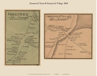 Greenwich Villages , Massachusetts 1860 Old Town Map Custom Print - Hampshire Co.