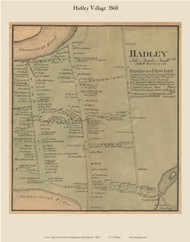 Hadley Village, Massachusetts 1860 Old Town Map Custom Print - Hampshire Co.