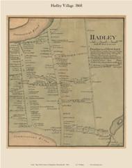 Hadley Village, Massachusetts 1860 Old Town Map Custom Print - Hampshire Co.