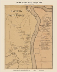 Hatfield and North Hadley Villages, Massachusetts 1860 Old Town Map Custom Print - Hampshire Co.
