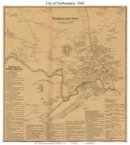 Northampton City, Massachusetts 1860 Old Town Map Custom Print - Hampshire Co.