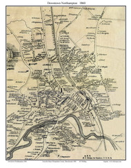 Northampton Downtown (Custom), Massachusetts 1860 Old Town Map Custom Print - Hampshire Co.