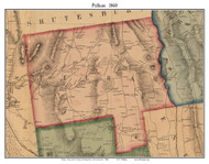 Pelham, Massachusetts 1860 Old Town Map Custom Print - Hampshire Co.