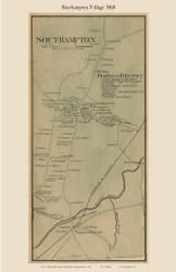 Southampton Village, Massachusetts 1860 Old Town Map Custom Print - Hampshire Co.