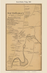 South Hadley Village, Massachusetts 1860 Old Town Map Custom Print - Hampshire Co.