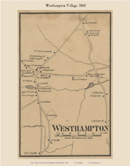 Westhampton Village, Massachusetts 1860 Old Town Map Custom Print - Hampshire Co.