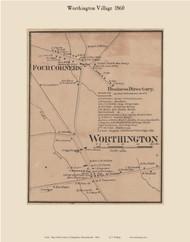 Worthington Village, Massachusetts 1860 Old Town Map Custom Print - Hampshire Co.