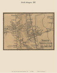 North Abington Village, Massachusetts 1857 Old Town Map Custom Print - Plymouth Co.