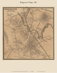 Bridgewater Village, Massachusetts 1857 Old Town Map Custom Print - Plymouth Co.