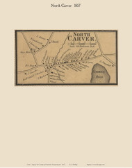 North Carver Village, Massachusetts 1857 Old Town Map Custom Print - Plymouth Co.