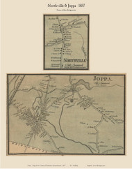Northville and Joppa Villages, Massachusetts 1857 Old Town Map Custom Print - Plymouth Co.