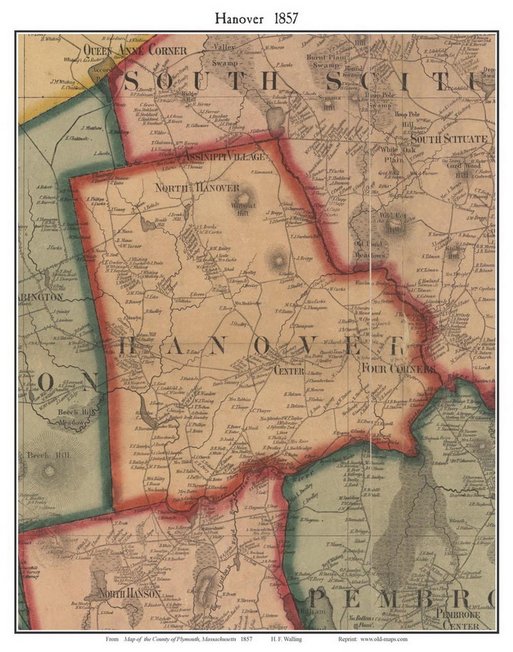 Hanover Massachusetts 1857 Old Town Map Custom Print Plymouth Co